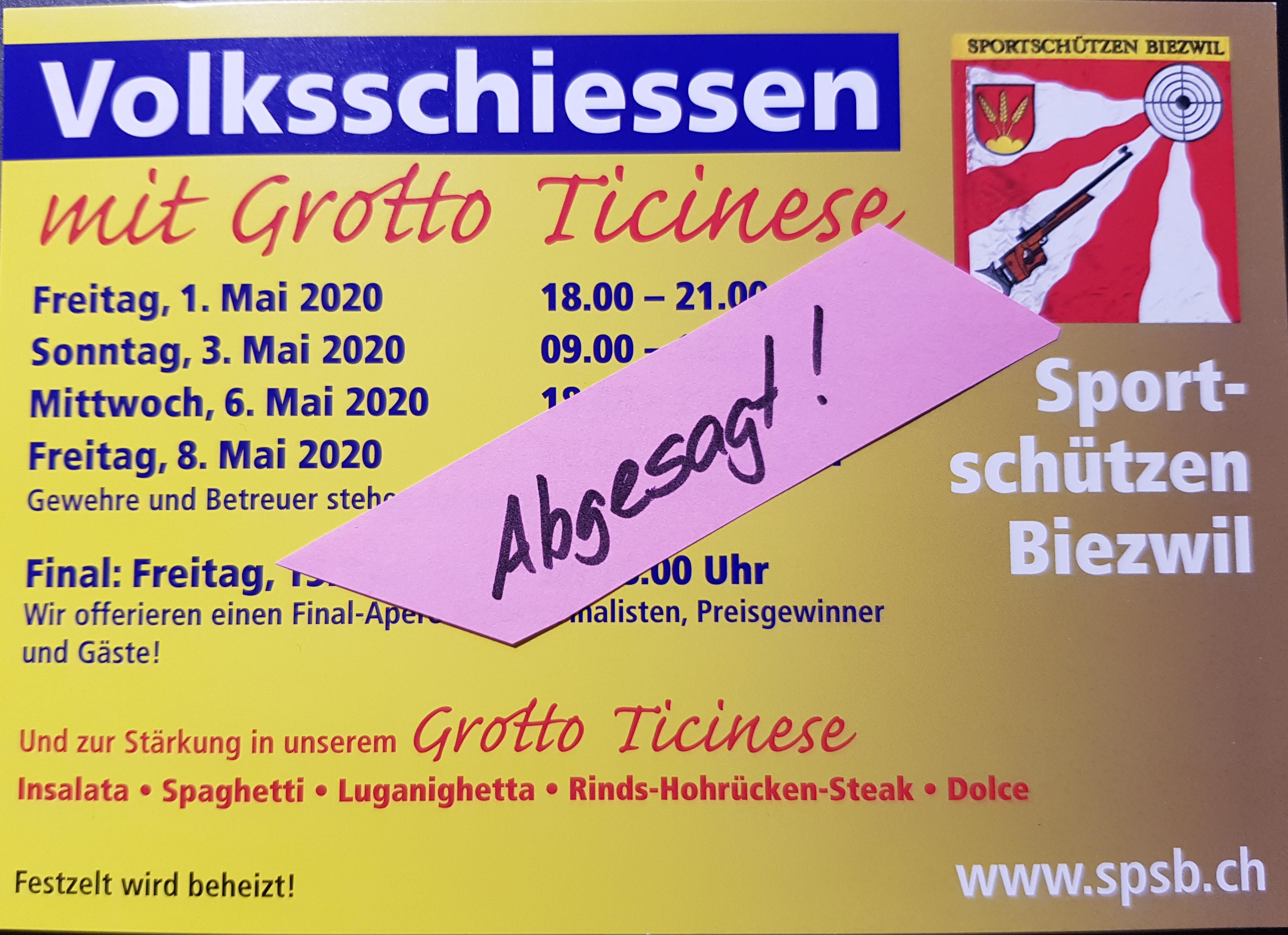 Volksschiessen findet im Mai 2020 NICHT statt!